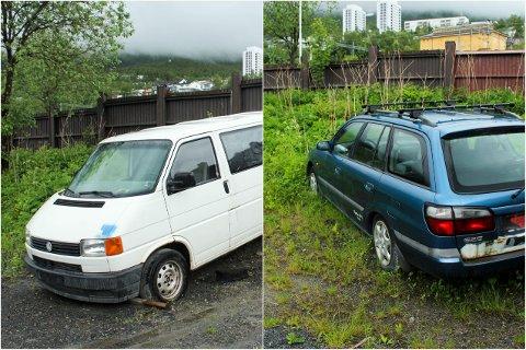 FORLATTE BILER: Disse bilene har trolig stått her i årevis.