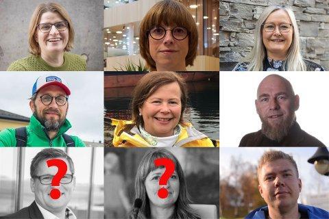 OPPE FRA VENSTRE: Marianne Dobak Kvensjø (H), Ida Gudding Johnsen (V), Mona Nilsen (AP), Thomas Johansen (MDG), Siv Mossleth (SP), Geir Jørgensen (R), Dagfinn Olsen (FRP), Ingelin Noresjø (KRF), Vegard Lind-Jæger (SV).