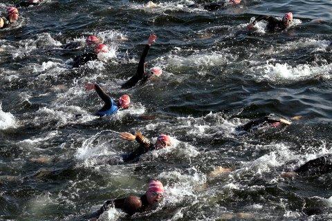 STORT OPPMØTE: Nesten 70 svømmere gikk i vannet for den årlige kryssingen Horten – Moss. ALLE FOTO: MARTIN MOLAND