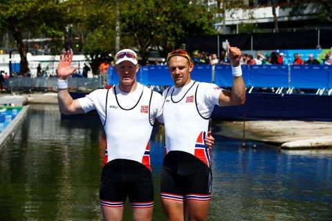 OL i RIO: Kjetil Borch og Olaf Tufte endte på 3.-plass i OL-finaleni dobbeltsculler torsdag.