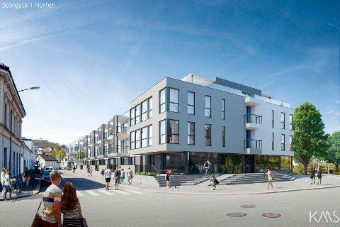 HORTEN STANDARD: På eiendommen til tidligere Horten Standard kommer det nå ny begyggelse. Her sett fra Storgata.