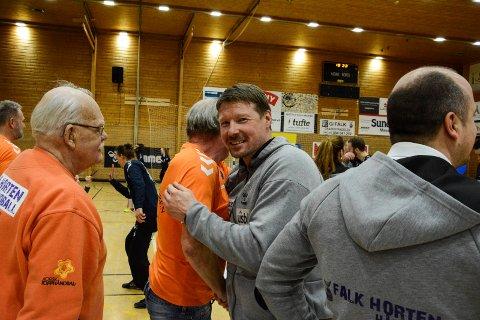 ALL GRUNN TIL Å GLISE: Johnny Jensen har kunne smile ofte denne sesongen. Aldri før har Falk klart å holde seg i eliteserien uten å spille kvalifisering først.