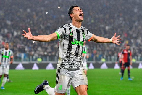 Juventus' Cristiano Ronaldo celebrates after scoring during the Italian Serie A soccer match between Juventus and Genoa at the Allianz stadium in Turin, Italy, Wednesday, Oct. 30, 2019. (Alessandro Di Marco/ANSA via AP)