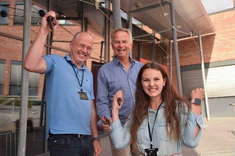 MYE Å JUBLE FOR: Gründer og daglig leder Inge Rune Tetlie, arbeidende styreleder Kjetil Idås og markedssjef for Europa Karoline Alice Idås har all grunn til å være fornøyde etter utviklingen selskapet har hatt i 2020.
