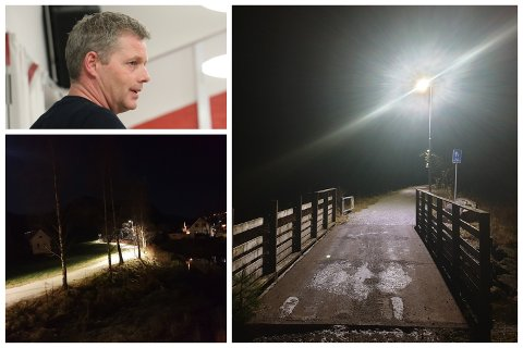 Endelig har hele strekket langs Oltedalsåna fra barnehagen til idrettsplassen fått gatelys. Det er Jan Ove Hanasand (Ap) glad for.