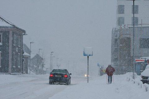 Snø vinter ålgård sentrum.