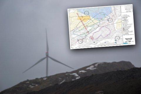 Olje– og energidepartementet tar klagen til Sivilombudsmannen til etterretning.  Kartutsnittet er fra revidert arealbrukskart for Måkaknuten vindkraftverk og datert 30. oktober 2018. Vindmøllen på bildet har ikke noe med vindkraftverket på Måkaknuten å gjøre.