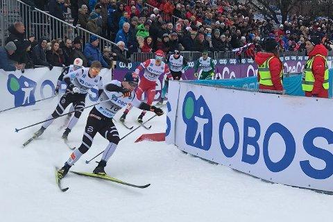 Sivert Wiig (nr. 10) i tet i kvartfinaleheatet i Drammen.