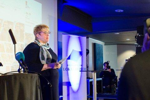 Kultur- og likestillingsminister Trine Skei Grande (V) presenterte mediestøttemeldingen under årsmøtet til Landslaget for Lokalavsier forrige helg.