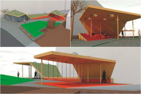 De foreløpige skissene for den nye busstopp-parken i Ålgård sentrum (illustrasjon: Kontor for arkitektur og plan).