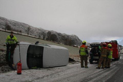 Bilen kjørte av veien mellom Lima og Berge, like før Lima.