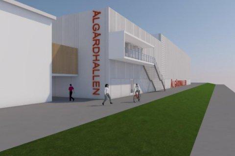 Idrettslagene på Ålgård har fått utarbeidet en skisse over idrettshallen de ønsker seg, som her har fått det foreløpige navnet Ålgårdhallen (illustrasjon: Masiv).