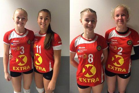 Fire nye volleyballspillere har meldt overgang til Gjesdal idrettslag foran årets sesong i 1. divisjon. Fra venstre: Anna Østmark Andersen, Signe Fugleskjelle, Pernille Wigestrand og Sigrid Obrestad Randen.