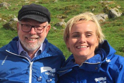 Varaordfører Henry Tendenes (H) og stortingsrepresentant Margret Hagerup (H) tar sammen med stortingsrepresentant Aleksander Stokkebø (H) statsbudsjettet i forsvar.