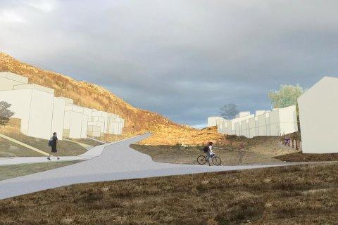 Om to år kan dei fyrste bebuarane flytta inn i det nye bustadfeltet i Kodlidalen. (Illustrasjon: Link arkitektur).