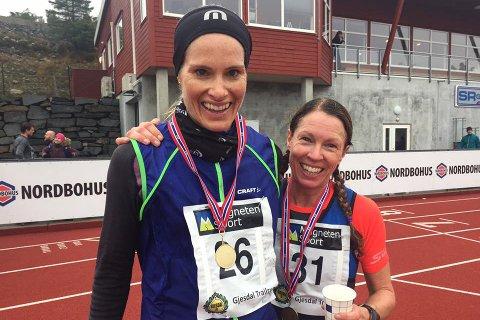 Eli Garvik Rasdal (til venstre) vant kvinneklassen i Gjesdal trailrun foran Elise Hay Opsahl.