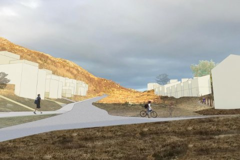 Vanskelig prosjekteringsarbeid forsinker boligfeltet i Kodlidalen (illustrasjon: Link arkitektur).