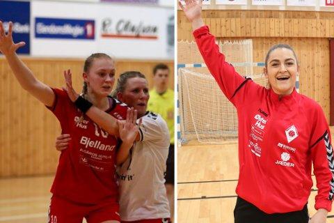To nye spillere fortsetter i Ålgård håndballklubb. Ingrid Pedersen (til venstre) og Elise Pedersen har signert for sesongen 2019/2020.