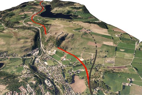 Det forrige forslaget (svart linje) gikk lenger øst, mesteparten i tunnel. Vegvesenets nye forslag går mer oppe i dagen og nærmere Figgjo. Vannet i bakgrunnen er Bråsteinvatnet.