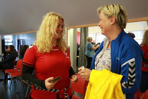 Kristine Njærheim Jøntvedt, dagleg leiar i i Ålgård håndballklubb, og Ann Elin Lima, styreleiar i Ålgård turnforening, jubla då kommunestyret gjekk inn for finansieringsplanen.