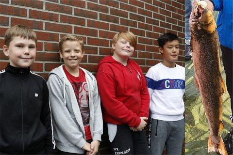 Sondre Skretting, Arn Støve, Jone Båtnes og Alexander Lauritsen var alle med da elever fra 6B på Bærland skole dro inn et garn med en laks på tolv kilo.