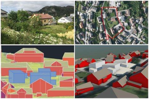 Gjesdal Bolig ønsker å bygge tre nye boliger på tomta øverst til venstre.