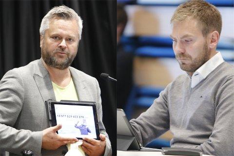Arbeiderpartiets Tom Kalsås (t.v) kritiserte Espen Aaserud Karlsen fra Fremskrittspartiet for ansvarsfraskrivelse, ettersom sistnevnte nektet å stemme for Nye Veiers bompengeopplegg for ny E39 mellom Bollestad og Bue.