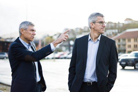 Konstituert rådmann Jone Haarr (til venstre) og økonomisjef Bjarte Madland ønsker å satse på utbygging i Ålgård sentrum, og har satt av 50 millioner kroner til det prosjektet de neste to årene.