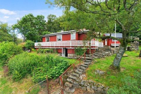 Denne hytta med utsikt mot Homslandsvatnet er for tiden til salgs.