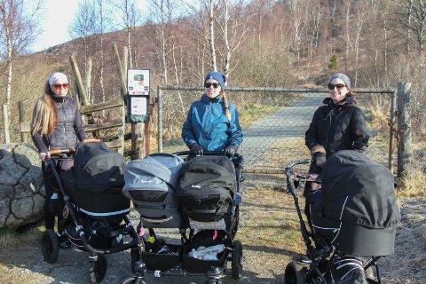Eilen Olsen (t.v.), Benedicte Skar og Ann-Terese Tollefsen skulle ønske var mulig å ta med de yngste ungene på tur inn til Flassavatnet.