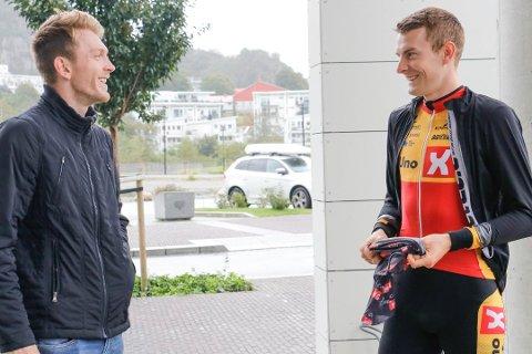 Brødrene Daniel (til venstre) og Markus Hoelgaard er endelig blitt lagkamerater igjen etter å ha syklet på hvert sitt lag de siste årene.