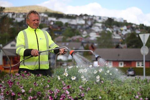 Vidar Oftedal har travle dager med blomsterplanting og vanning.