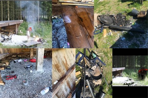 Bilder fra viltkameraet viser en vennegjeng som ankommer gapahuken. Senere på kvelden begynner en av dem å ramponere området, blant annet ved å brenne inventaret på bålet. De andre bildene viser hvordan gapahuken så ut mandag morgen.
