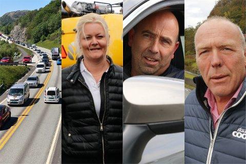 Anniken Øgreid (fra venstre), Jan Ove Sikveland og Knut Mjølhus er enige om at ny E39 må komme på plass. Sikveland er ikke på linje med de to andre når det gjelder hvilke virkemidler som kan tas i bruk.
