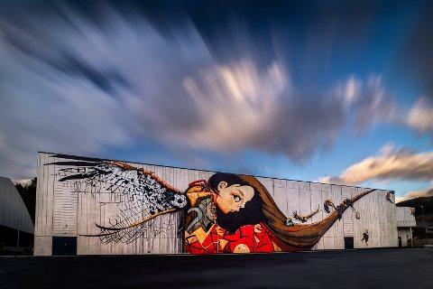 VERDSKJENT: Den lokale gatekunstnaren Renate Hermansen får internasjonal merksemd for det 50 meter breie maleriet på Ålgårdhallen.
