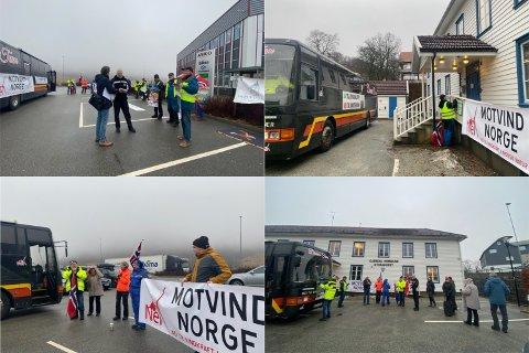 Vindkraftdemonstranter gjorde torsdag en liten miniturné i Gjesdal; først til ASKO på Skurve, og deretter til Storahuset hvor de møtte ordfører Frode Fjeldsbø.