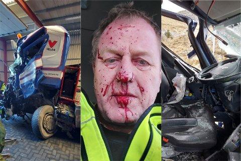 Slik så Terje Kyllingstad og bilen hans ut etter å ha kollidert med en annen lastebil på E39.