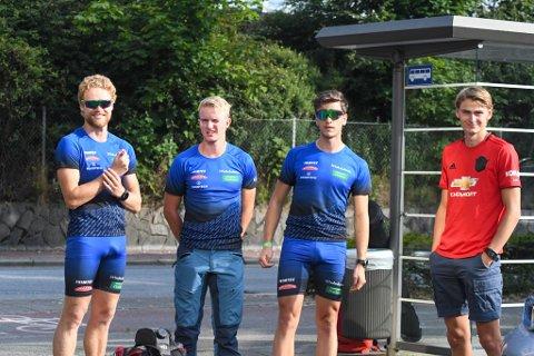 Petter Bjørn (24), Johan Olav Botn (22), Ørjan Mosleg (21) og Eirik Idland (19) tilhører team Mesterbakeren. Eirik er på plass for å hente lagkameratene etter Lysebotn Opp.
