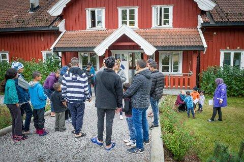 LANG TID: Det kom rekordmange flyktninger til Norge i fjor høst, her fra Opaker gård. I år har det bare kommet noen få.