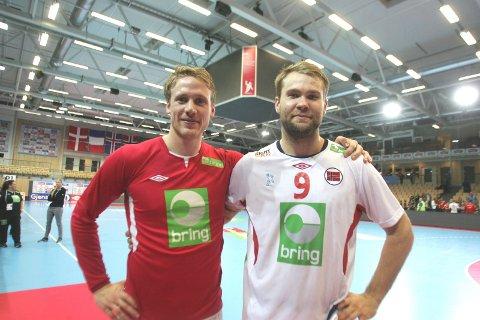 VIKTIGE KAMPER: Magnus Gullerud (t.v.) og Petter Øverby er tatt ut i landslagstroppen som skal spille viktige kamper i håp om å komme til VM i Frankrike neste år.