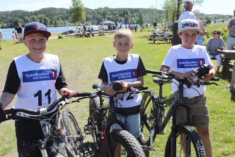 FØRST I MÅL: Disse tre kom først i mål i Vestmarka rundt. Fra venstre Andreas Gundahl, Audun Rapp og Odin Grønnerud.