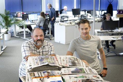 NYANSATTE: Gamle kjenninger i Glåmdalen i nye roller: Terje Sundby (til høyre) er ny nyhetsredaktør, mens Per-Erik Strømner er blitt digitalsjef.FOTO: OLE-JOHNNY MYHRVOLD