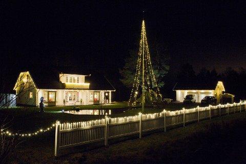JULESTEMNING: Mange har nok stoppet i veikanten langs Nord-odalsvegen når jula nærmer seg for å kikke litt ekstra på dette huset. Nå ligger det ute for salg.