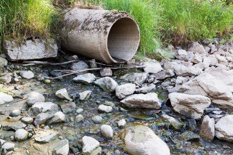 OVERVANN: Ved dette røret i Glomma kommer det overvann fra Lia. Men av og til ved store nedbørsmengder kommer det også litt kloakkvann fra septiktanker.