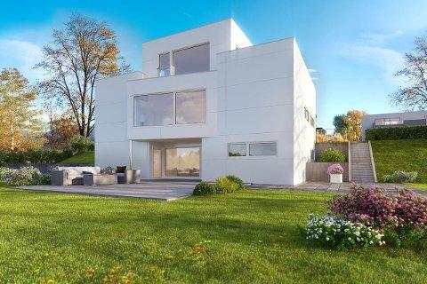 STORT OG DYRT: Nesten ni millioner kroner må man punge ut for å sikre seg dette huset. Dette er foreløpig en illustrasjon.