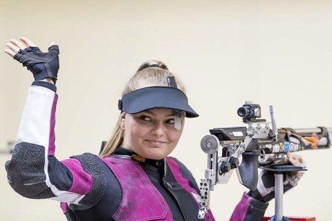 I verdenstoppen: Jenny Stene debuterte i verdenscupen i skyting i helga, og kvitterte med å bli nummer tre i finalen i Sør-Korea. FOTO: ISSF