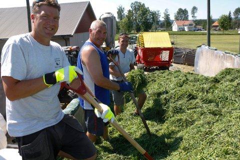 Det haster med å berge grasavlinga, sier Haagen Haagensen, som er avhengig av hjelpa han får av nevøene Andreas og Kristian Sveen. Da går det unna!