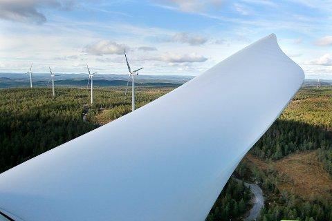 FEM ÅR EKSTRA: E.ON jobber hardt for å realiserer planene om en vindkraftpark i Nord-Odal, og har nå fått innvilget en forlengelse av driftsperioden. Bildet er fra Ludvika i Sverige og viser hvordan det kan bli.