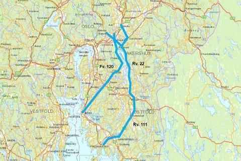 Forslag: Man ønsker å utrede to korridorer for en avlastningsvei mellom E6 Sør/E18 og E6 Nord. En korridor går fra Fredrikstad over Mysen, Fetsund og til Gjelleråsen, en annen fra Moss over Enebakk til Lillestrøm og Skedsmovollen. En tilknytning fra Fetsund til Kløfta er også med.