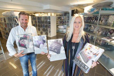 NETTBUTIKK: Samboerparet, Vigdis Støve og Hans Einar Joelsen tok med seg firmaet fra Alnabru til Magnor. Firma heter Indusia Design, og er et nettbasert firma som i hovedsak selger sengesett.